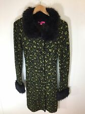 Betsey Johnson Iconic Leopard Cheetah Print Sweater Faux Fur Trench Jacket Small