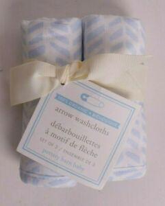 set/2 NWT Pottery Barn Kids organic Arrow baby washcloths, blue, nursery