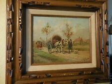 painting on board of Country Caravan  Horse & Man Scene Signed Eugene LaForet NR