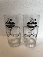 2 RARE Vintage 1960 ALPHA BETA First In Foods Grocery Stores Logo 12 Oz Glasses