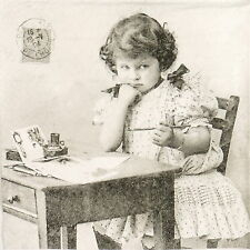 4x Paper Napkins for Decoupage Decopatch Vintage Girl Writing