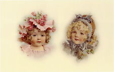Old Vintage MAUD HUMPHREY Art Print SUMMER & WINTER Victorian Children Portrait