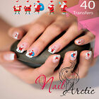 40 x Father Christmas Nail Art Sticker Water Decals Transfer Stickers Tips