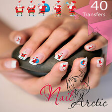 40 x Nail Art Water Transfers Stickers Wraps Decals Father Christmas
