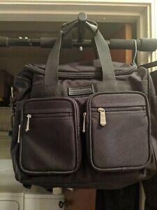 Eddie Bauer Canvas Messenger Bag Black Laptop Carryon Travel Briefcase NWOT NICE