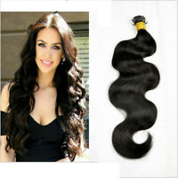 Body Wave Pre Bonded I Tip Stick 100%  Human Hair Extensions Keratin Fusion 100g