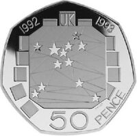1992 1993 50P COIN EEC UNCIRCULATED EC PRESIDENCY RARE FIFTY PENCE DUEL DATE €