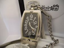 Colibri Stainless Steel Black Face Pocket Watch W/Date And Chain New Reduced