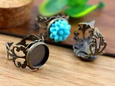10pcs Antique Bronze Adjustable Ring Settings Blank/Base, Fit 12mm Cabochons