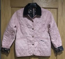 GIRLS GENUINE BARBOUR QUILTED JACKET IN PINK SIZE L