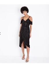 BLACK COLD SHOULDER WRAP DRESS, SIZE 8, RRP £35, NEW LOOK METALLIC BAROQUE DRESS