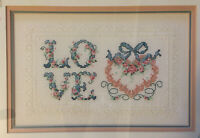 LOVE Completed Framed Matted Cross Stitch Valentine Decor Heart Needlework