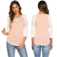 Women Casual Patchwork Three Quarter Sleeve T-shirt Raglan Tops P0D