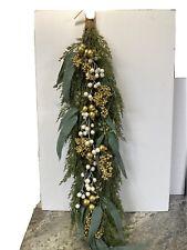 """Martha Stewart 36"""" Faux Cedar Eucalyptus Teardrop White Gold Berries Leaves"""
