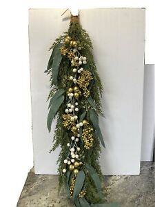 "Martha Stewart 36"" Faux Cedar Eucalyptus Teardrop White Gold Berries Leaves"