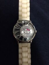 SANRIO HELLO KITTY WHITE BAND+SILVER TONE DIAL+CRYSTALS WATCH-HK2122 LADIES TEEN