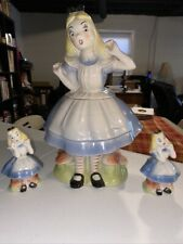 Vintage Ceramic Alice in Wonderland Cookie Salt/Pepper Shakers Walt Disney 1951