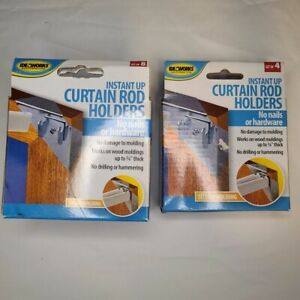 IdeaWorks Instant Up Curtain Rod Holders 2 Boxes 8Pack 4Pack No Drill No Hammer