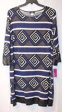 NEW JBS WOMENS SIZE 2X 2XL MODERN GEOMETRIC BLACK BLUE GEOMETRIC STRIPED DRESS