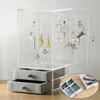 Jewelry Display Rack Clear Acrylic Earrings Ring Necklace Stand Organizer Holder