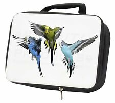 More details for budgerigars, budgies in flight black insulated school lunch box bag, ab-94lbb