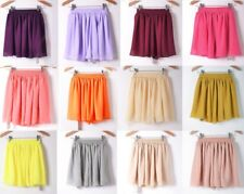 WOMENS ELASTIC WAIST MINI SKIRT GIRLS CHIFFON SHORT PLEATED RETRO DRESS - CFNSKT