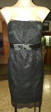 WOMENS Sz 10 black VALLEYGIRL floral lace strapless dress LOVELY! ZIPS AT BACK!