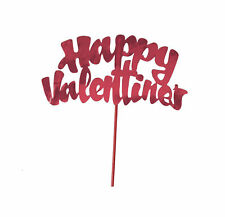 Happy Valentine's Day Shiny Foil 6 inch Cake Topper Pick Red