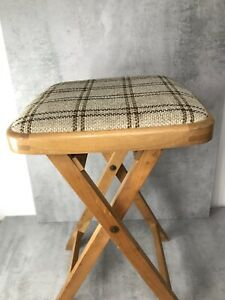 Vintage chequered Kitchen Folding Foldable Wooden Stool. 70s.