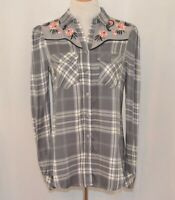 NWT Wonderly Gray Plaid Embroidered Rock a Billy Button up Shirt Size  XS