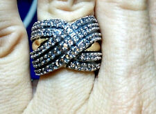 Two Tone Sterling Silver & 9k Gold Ring size M With CZ