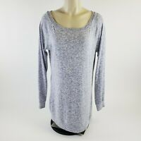 Womens Athleta Long Sleeve Scoop Neck Sweater Top Gray Long Pullover Dress Sz M
