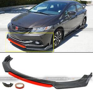 For 13-15 Civic 4Dr Carbon Painted Red Center CS 3 PCS Front Bumper Lip Spoiler