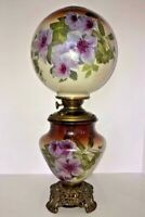 GONE WITH THE WIND PARLOR LAMP (GWTW)- HAND PAINTED LAVENDER CLEMATIS VINE