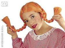 Childrens Neon Orange Ginger Wig With Plaits Annie Dolly Fancy Dress