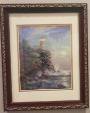 "Thomas Kinkade Gold trimmed framed/matted ""Split Rock Light"" Lighthouse Reprint"