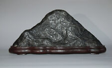 Miniature mountain, suiseki scholar's rock, Mount Fuji, on wooden stand, Japan