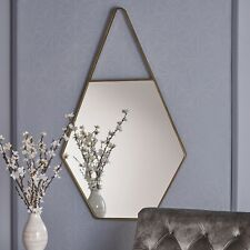 Samuel Water Drop Hexagonal Wall Mirror with Champagne Finished Iron Frame