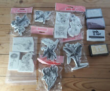 Bundle of La Blanche Foam Backed FLORAL Rubber Stamps & Ink It up! Stamp Pads