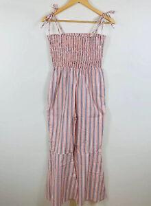 Akua By Jaase Womens Striped Jumpsuit Size M Medium AU 12-14 Orange 224.13