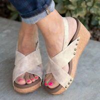 Women Platform Wedges Ankle Strap Open Toe Thick Sandals Summer Beach Shoes Size