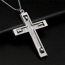 Unisex's Men's Black Silver Stainless Steel Cross Necklace Pendant Jewelry Gift