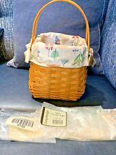 Longaberger Tiny Tote Basket, Protector & Botanical Fields Liner *New*