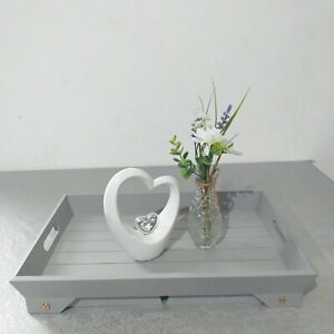 GREY Wooden Lap Tray With Folding Legs Vintage Breakfast In Bed Serving Tray new