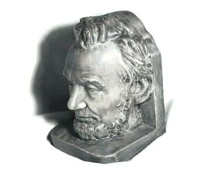 Abraham Lincoln Bust Bookend Gray Pottery or Ceramic 4+lbs Jodi Hovee