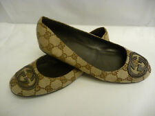 GUCCI Womens GG Logo Flats 35G 5 - 5.5 Browns Canvas Rubber Sole Italy