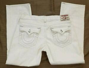 True Religion Jeans World Tour White Denim Flap Pockets Straight Size 40/33_D51