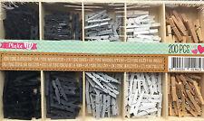 200 x Mini Holzklammern Wäscheklammern  Stück natur schwarz weiß grau Clip