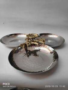 Steel Snacks Server Triple Bowls With Brass Motif For Gifting For Home Decor