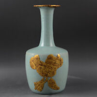"11"" Good Chinese Jingdezhen Ruyao Celeste Glaze Porcelain Gilding Flower Vase 2"